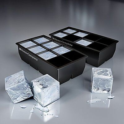 Best Ice Cube Trays - 2 Large Silicone Pack - 16 Giant 2 Inch Ice Cubes Molds,
