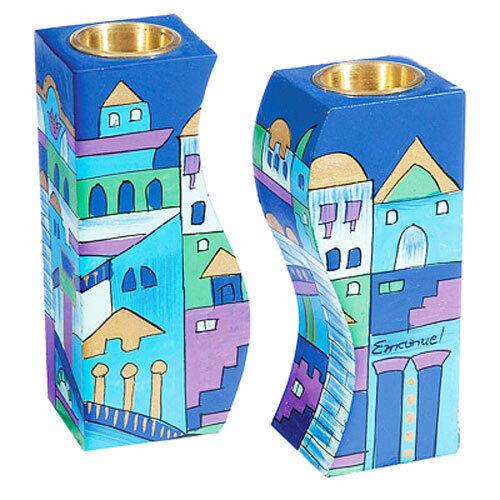 Jerusalem Shabbat Candlesticks - Judaica Jewish - Hand Painted - Made in Israel