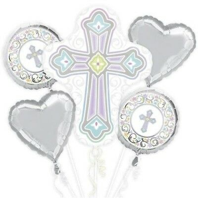 Blessed Day Cross Baptism Communion Balloon Bouquet Party Supplies](Communion Bouquets)