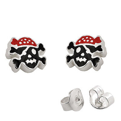 Jungen Knochen (Jungen Pirat Ohrstecker farbige Knochen Totenkopf Jungs Ohrringe Echt Silber 925)