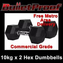 BRAND NEW BULLETPROOF 10KG HEX RUBBER DUMBBELLS DUMBELLS Wangara Wanneroo Area Preview