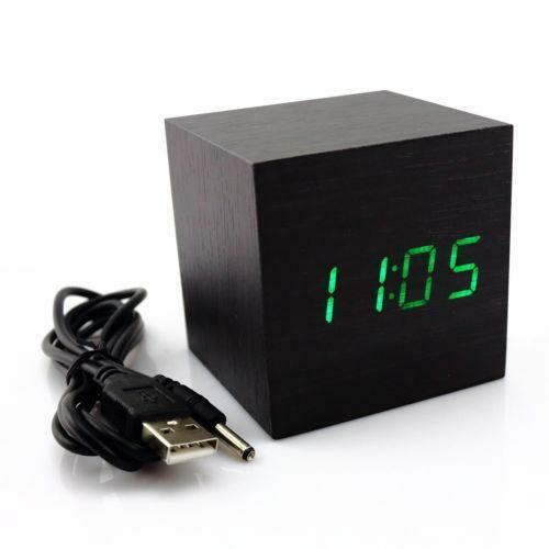wood cube clock ebay. Black Bedroom Furniture Sets. Home Design Ideas
