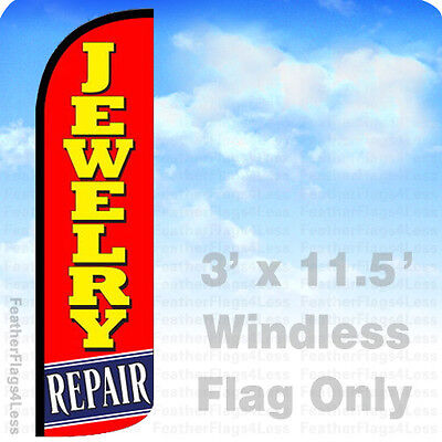 Jewelry Repair - Windless Swooper Feather Flag 3x11.5 Banner Sign - Rq