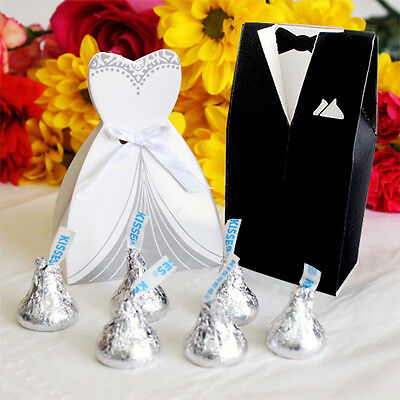 100Pcs Wedding Favor Candy Box Bride & Groom Dress Tuxedo Party w/ Ribbon Gift