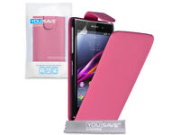 Wholesale Joblot 56 Sony Xperia Z1 Phone cases Pu Leather flip and Wallets With Screen Protectors