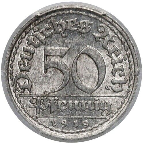 GERMANY Weimar Republic 1919-E 50 Pfennig PCGS MS-65 KM-27 J-301 just one finer