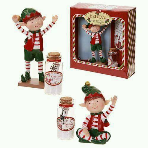Santa Wishes Jar With Elf Figure