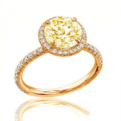Estate Style Diamond Engagement Ring GIA Certified 3.25 CT Round Fancy Yellow 2