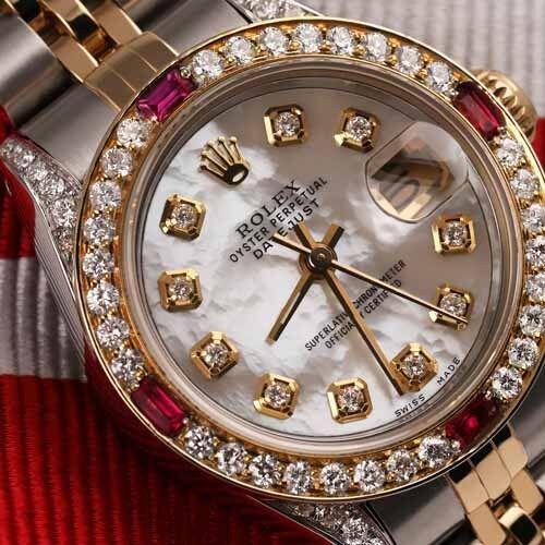 Ladies Rolex Ss & 18k Gold 26mm Datejust Watch White Mop Ruby Diamond Bezel