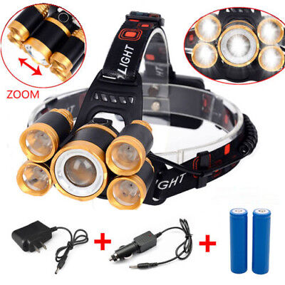 80000LM 5x XML T6 Zoom LED Rechargeable 18650 Headlamp Head Light Torch Charger