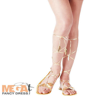 Roman Goddess Sandals Ladies Fancy Dress Greek Grecian Adult Costume Accessories