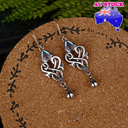 Jewellery - Wholesale 925 Silver Plated Moonstone Tear Drop Dangly Hook Earrings Gift