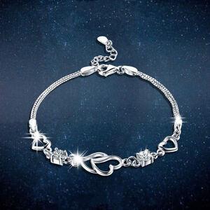 New 925 Sterling Silver Open Heart Bracelet Charm Jewellery Womens Ladies Gifts