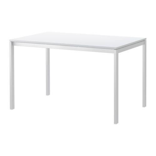 Modern White Office Desk Ikea Melltorp 125 Cm X 75 With Free Silver Pedestal
