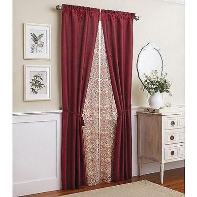 Better Homes and Gardens 6pc Window Set in Faux Silk with Printed Scroll Sheer