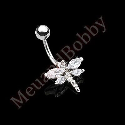 CZ Wing Dragonfly Belly Button Navel Bar Ring Body Piercing -
