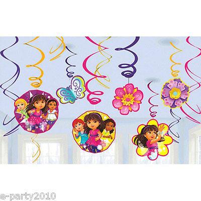Dora Decorations (DORA THE EXPLORER Dora & Friends HANGING SWIRL DECORATIONS (12) ~Party)