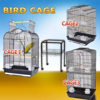 Pet Bird Cage Parrot Aviary Canary Budgie Finch Perch Black