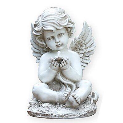 Sitting Cherub with Bird 9 Inch Resin Decorative  Outdoor Garden Statue Figurine