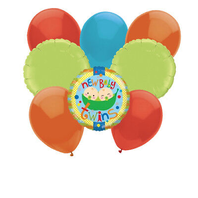 New BABY TWINS Peas in a Pod Shower Balloon Centerpiece Bouquet Arrangement - Twin Balloons Baby Showers