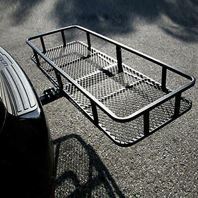 500LBS Folding Hitch Mounted Cargo Carrier Luggage Basket Black Fits 2
