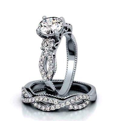Round cut Diamond Engagement Ring Wedding Band 2pc Bridal Set Sterling Silver Diamond Bridal Band Ring