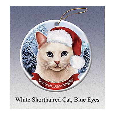 White Blue Eyes Cat Howliday Porcelain China Dog Christmas Ornament