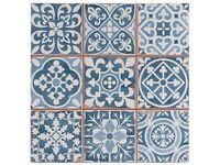 Victorian Marrakesh Black & Victorian Tangier Blue Decor Wall & Floor Tile 33x33cm