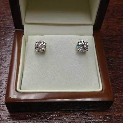 2 Carat Solitaire Diamond Stud Earrings Round Cut E/SI1 14K White Gold Enhanced