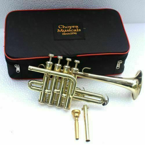 Piccolo Trumpet Shinning Brass 4 Valve with Box High Quality