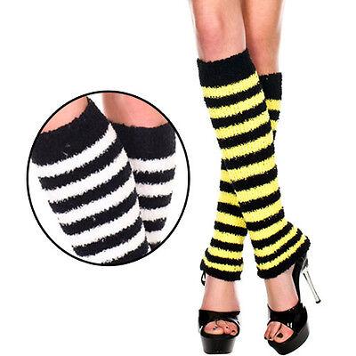 Bee Witch Costume Striped Fuzzy Leg Warmer Knee Hi Boot Socks Black/Yellow/White - Bee Leg Warmers