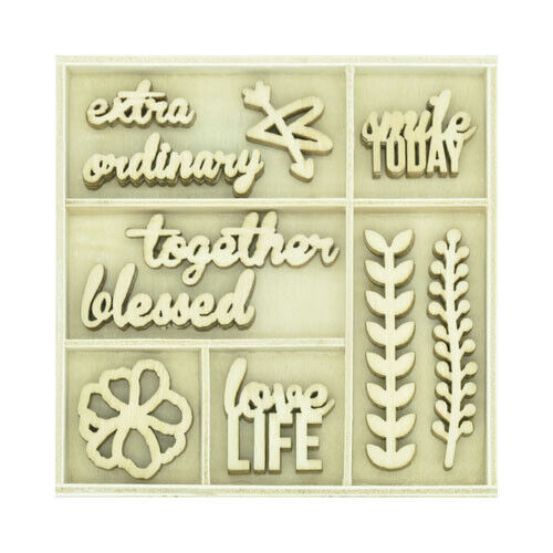 Kaisercraft Wooden Flourish packs / storage box 74 selections - Love Life