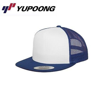 Weiß Mesh Cap (Yupoong Mesh Trucker Cap Royalblau Weiß)