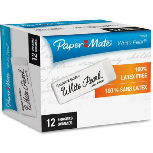 Paper Mate Latex-free White Pearl Eraser - Lead Pencil Eraser - Latex-free, 12pk