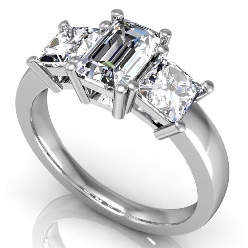 2.30 ct. Emerald Cut Diamond w/ Princess Diamond Engagement Ring I ,VVS2 GIA 14k