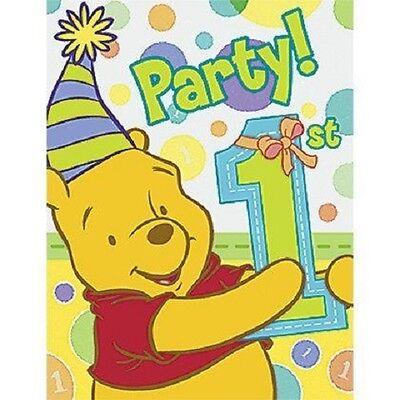 Pooh's 1st  Birthday Boy Party Invitations -