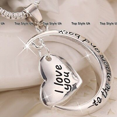 Silver Necklace Jewellery I Love You Gift ideas for Women Her Girls Christmas S1 - Christmas Jewelry Ideas