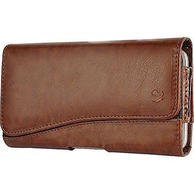 ZTE Grand X3 Z959 N9519 ~ Horizontal Leather Pouch Case Holster - Brown New Deluxe Horizontal Leather Pouch Case