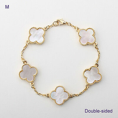 5-motif white mother of pearl lucky flower bracelet in gold