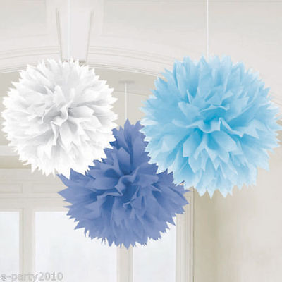 BLUE AND WHITE FLUFFY POM POM DECORATIONS (3) ~ Birthday Shower Wedding Supplies