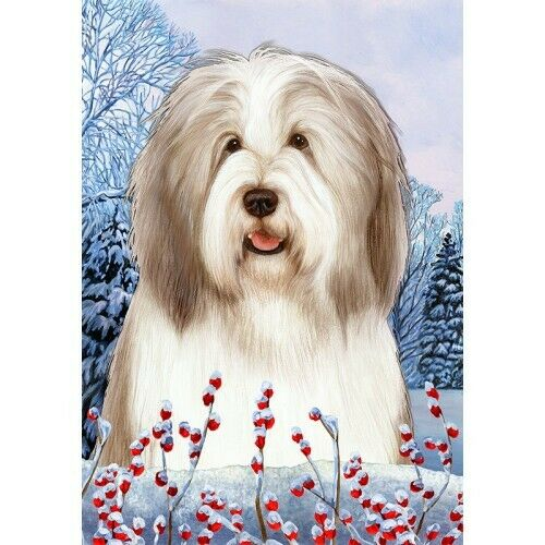 Winter House Flag - Fawn and White Bearded Collie 15483