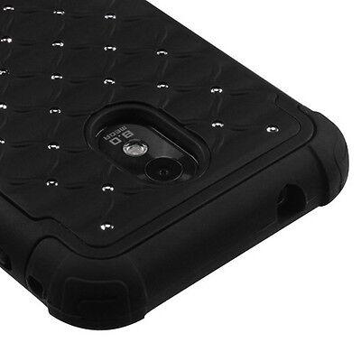 Sprint Samsung Galaxy S2 4G Hybrid Spot Diamond Case Skin Cover Black