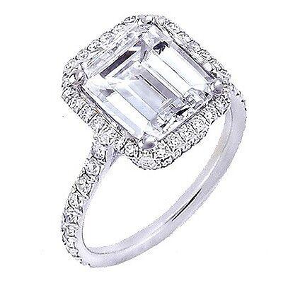 1.95 Ct. U-Setting Emerald Cut Halo Diamond Engagement Ring  E,VS2 GIA