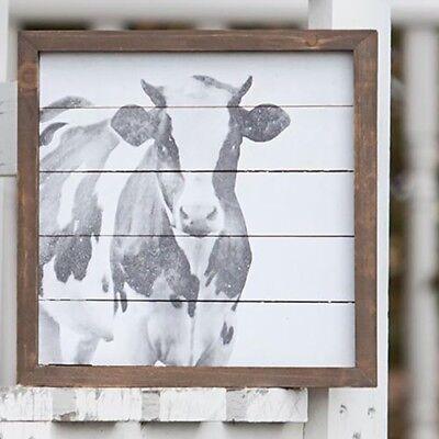 Cow Decor - Rustic Framed Farmhouse Cow art Vintage Farmhouse Wall Decor