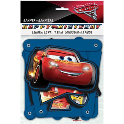 Disney Cars Party Supplies (DISNEY CARS 3 HAPPY BIRTHDAY BANNER ~Party Supplies McQueen Room Decoration)