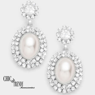 STUNNING WHITE PEARL & CLEAR CRYSTAL EARRINGS BRIDAL WEDDING FORMAL JEWELRY CHIC