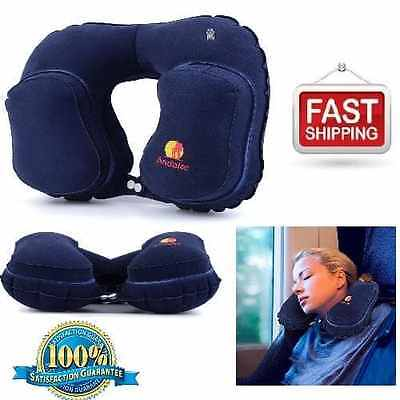 NEW Car Flight Travel Pillow Inflatable Neck & Head Rest U-Shaped Seat Cushion