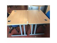 beech Office Workstation Desk with Cable Ports and Wire Holder