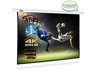 "ABIS 100"" Manual Pull Down Projector Screen 4:3 Native Screen 16:9 Compatible"