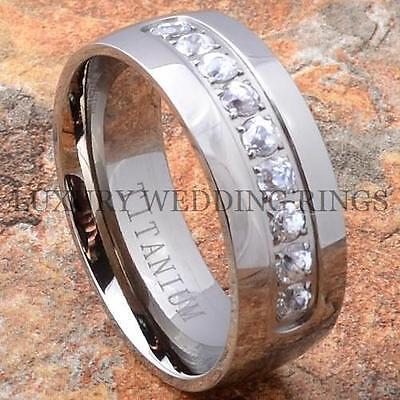 Men's Titanium Ring Diamonds Simulated Wedding Band Shiny Jewelry Size 6-13
